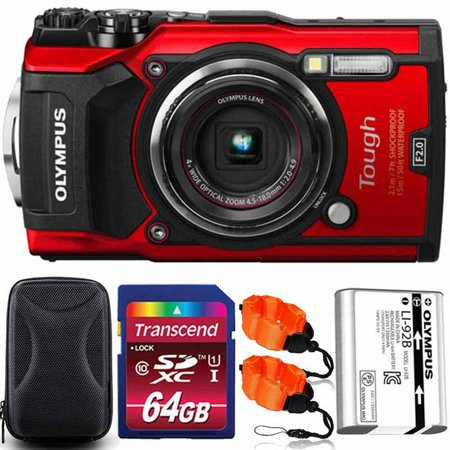 Olympus Stylus Tough TG-5 Waterproof Digital Camera Red With 64GB PRO