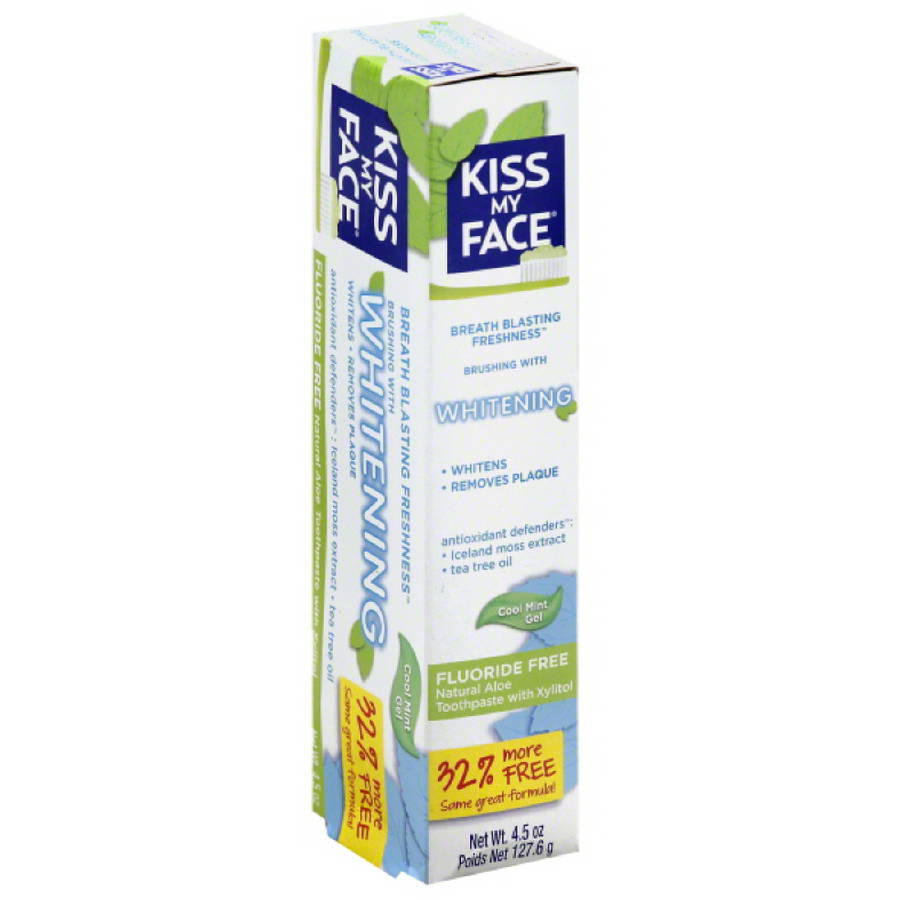 Kiss My Face Whitening Cool Mint Gel Fluoride Free Natural Aloe Toothpaste with Xylitol, 4.5 oz