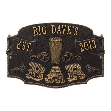 Personalized Whitehall Product Established Bar Plaque in Black/Gold ()