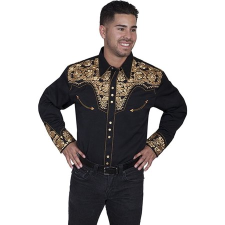 bc45729c20 Scully - Scully Western Shirt Mens Long Sleeve Embroidered Snap P-634 -  Walmart.com