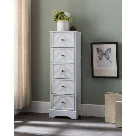 Wood Storage Drawers - Justin Wash White Wood Contemporary 5 Drawer Muti-Room Accent Display Chest Storage Organizer