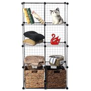 AUGIENB Metal Wire Cube Storage, 4/6/8/12-Cube Shelves Organizer, Stackable Storage Bins, Modular Bookcase, DIY Closet Cabinet Shelf for Home Office, Black