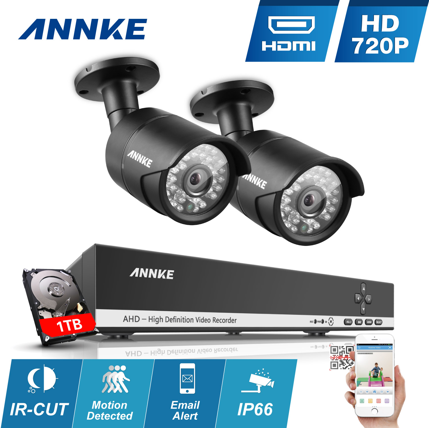 ANNKE 4CH 720P HD DVR HDMI Outdoor CCTV Security Camera System Home Video 1TB HDD