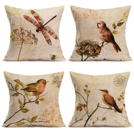 Popeven Throw Pillow Covers Retro Vintage Birds and Dragonfly Decorative Pillow Covers Cotton Linen Square Home Decor Throw Pillow Case Cushion Cover 18