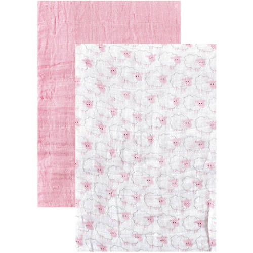 Hudson Baby Boy and Girl Muslin Swaddle Blankets, 2-Pack - Pink Sheep