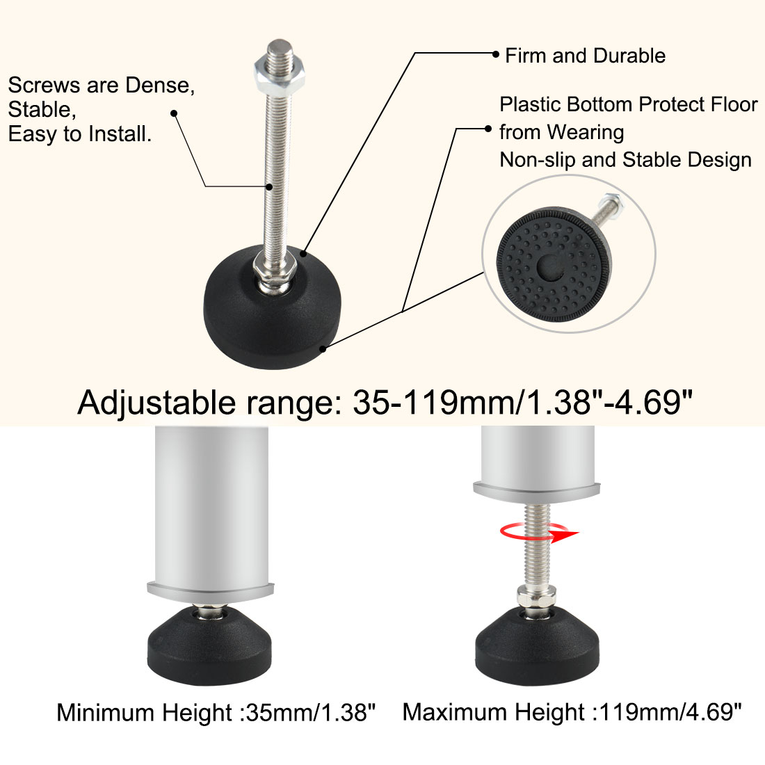 M8 x 94 x 50mm Leveling Foot Adjustable Leveler Protector for Machine Leg 4pcs - image 5 of 7