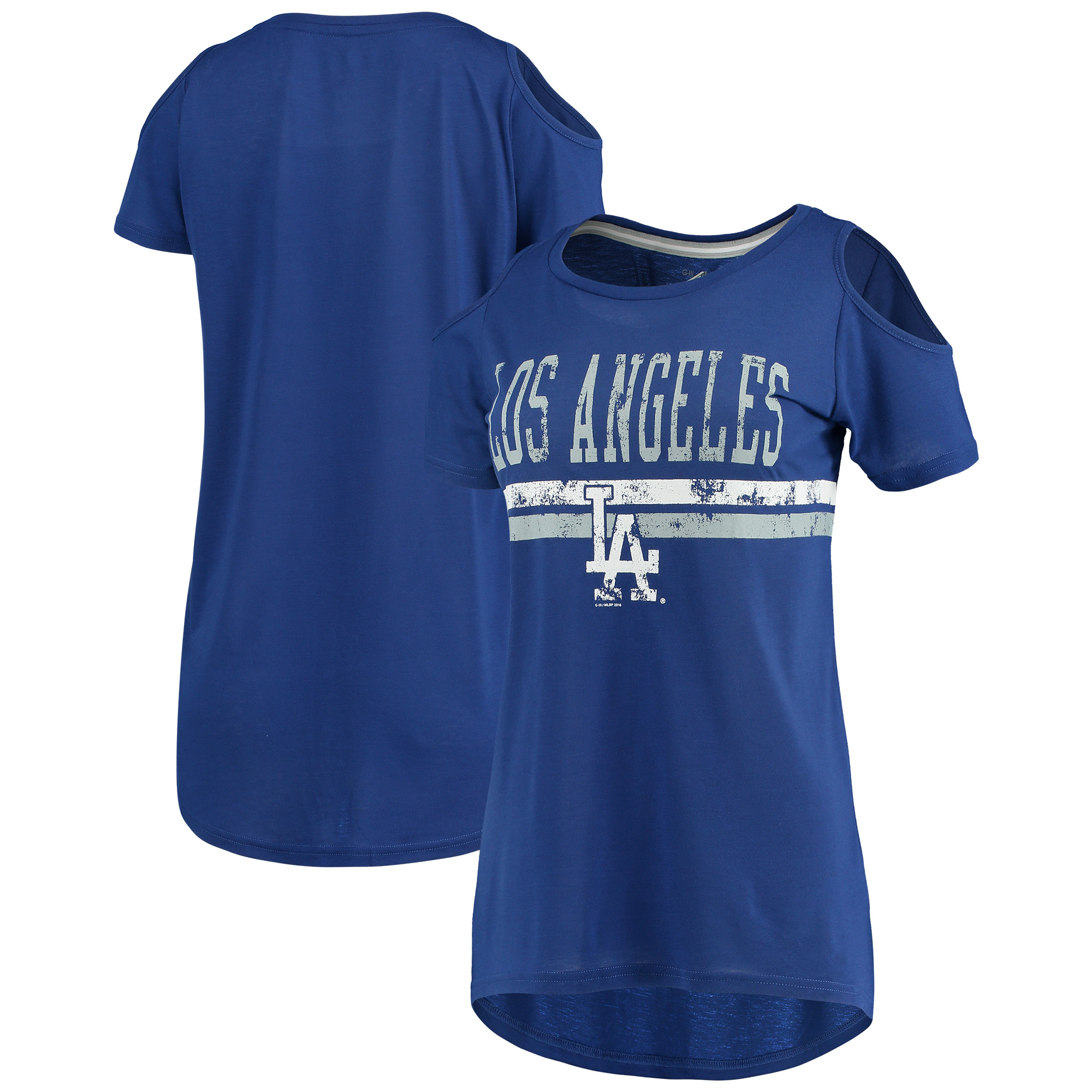 Los Angeles Dodgers G-III 4Her by Carl Banks Women's Clear The Base Cold Shoulder Scoopneck T-Shirt - Royal