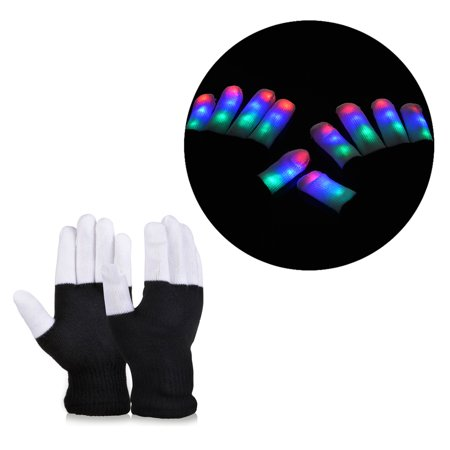 Christmas Party Full-finger Luminous Gloves RGB LED 7 Colors Light Show - Finger Light Show