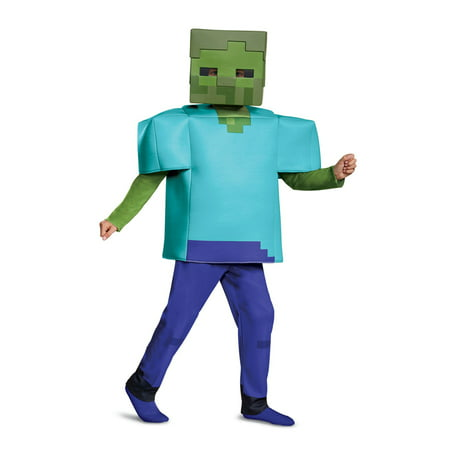 Boys Minecraft Zombie Deluxe Halloween Costume - Halloween Zombie Costumes Cheap