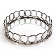 Zodax Round Chain Link Design Mirrored Serving Tray in Silver