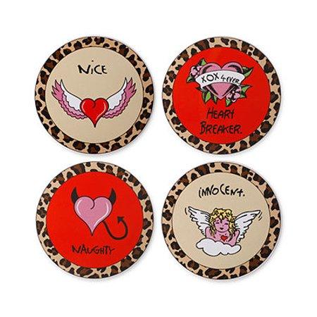 - Betsey Johnson Set of 4 Ceramic Naughty and Nice Coaster Set