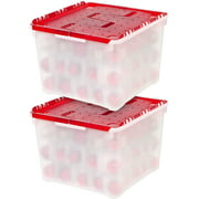 IRIS USA Holiday Ornament Storage Box, 2 Pack, Pearl/Red