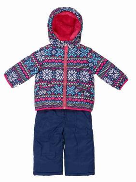 Carters Infant Girls Blue Snow Bibs & Winter Coat Set Nordic Print Snowsuit 12m