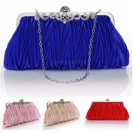 Fashion Women Ladies Satin Crystal Bridal Handbag Clutch Party Wedding Purse Evening Bag