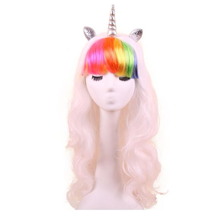 Unicorn Wig With Glitter Horn and Ears - White With Rainbow Bangs