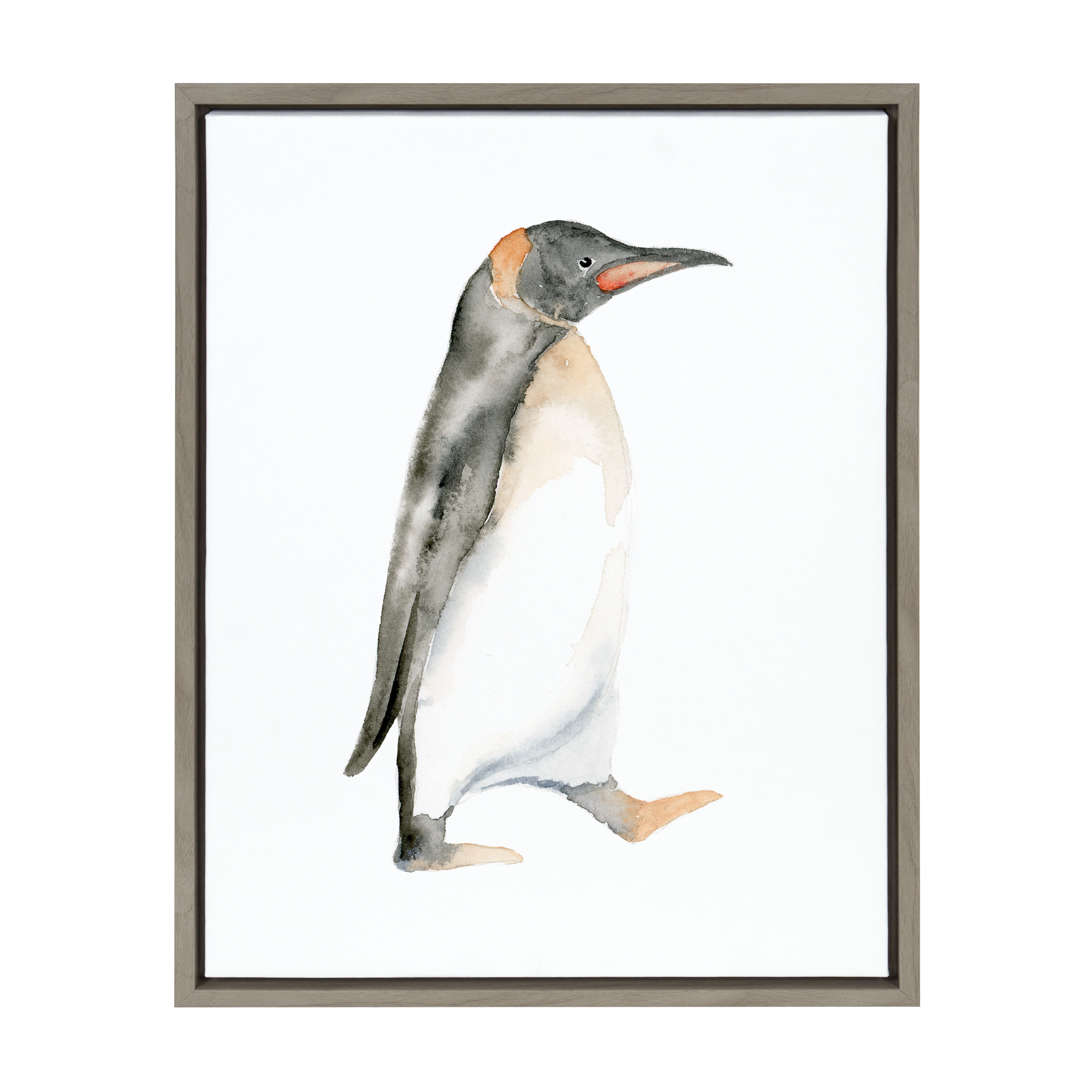 Kate and Laurel - Sylvie Black and White Waddling Penguin Framed Watercolor Print on Canvas by Cathy Zhang, Gray 18 x 24