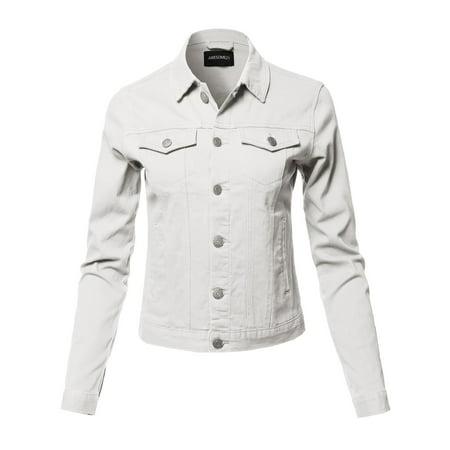 FashionOutfit Women's Solid Basic Denim Twill (Twill Ladies Lab Coat)
