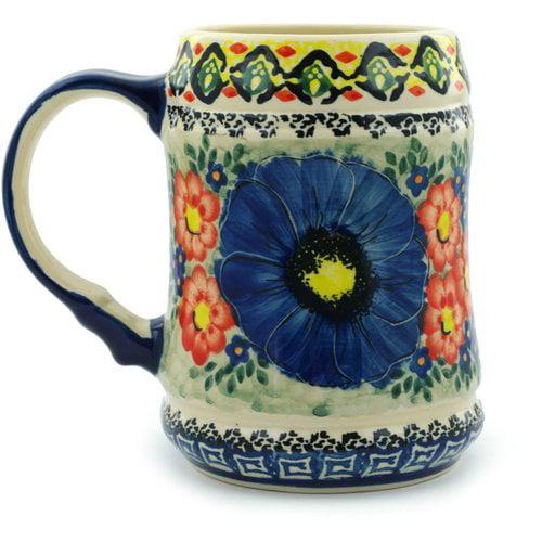 Polmedia Aztec Flowers 25 oz. Beer Mug by