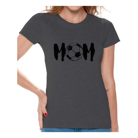 Awkward Styles Women's Soccer MOM Mothering Graphic T-shirt Tops Black Sport Mom Mother's Day Gift - Soccer Mom Emoji