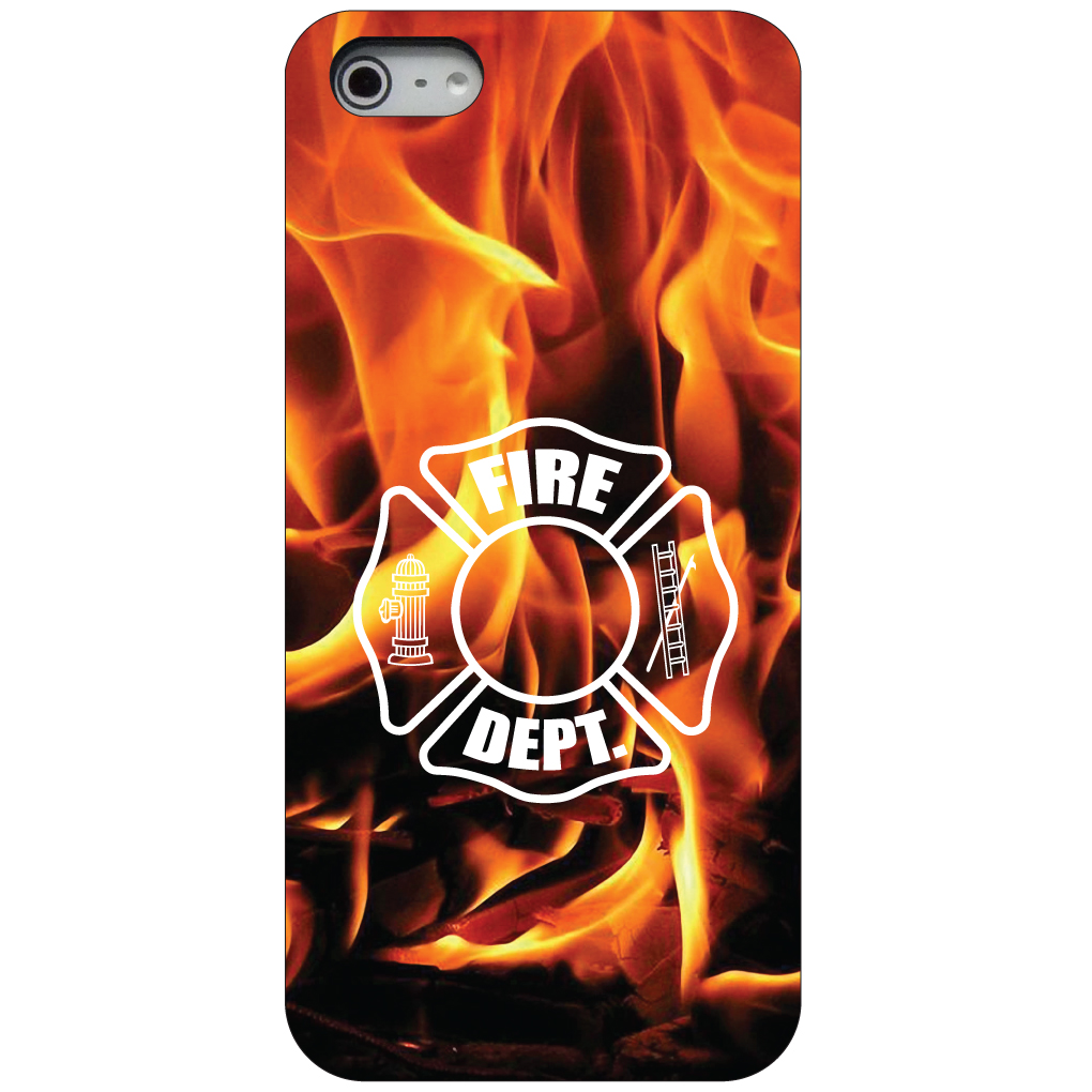 CUSTOM Black Hard Plastic Snap-On Case for Apple iPhone 5 / 5S / SE - Flames Fire Department