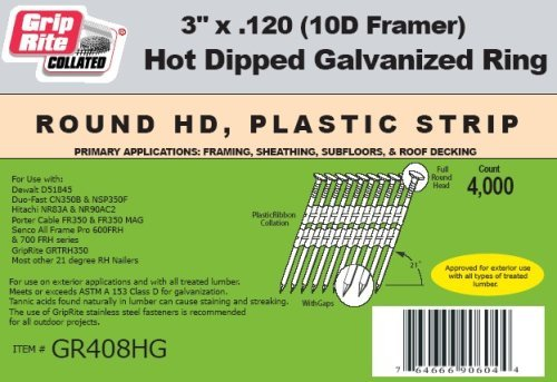 Grip Rite Prime Guard GR034HG1M 21 Degree Plastic Strip Round Head Exterior Galvanized Collated Framing Nails 3-1//4 x 0.131 Pack of 2