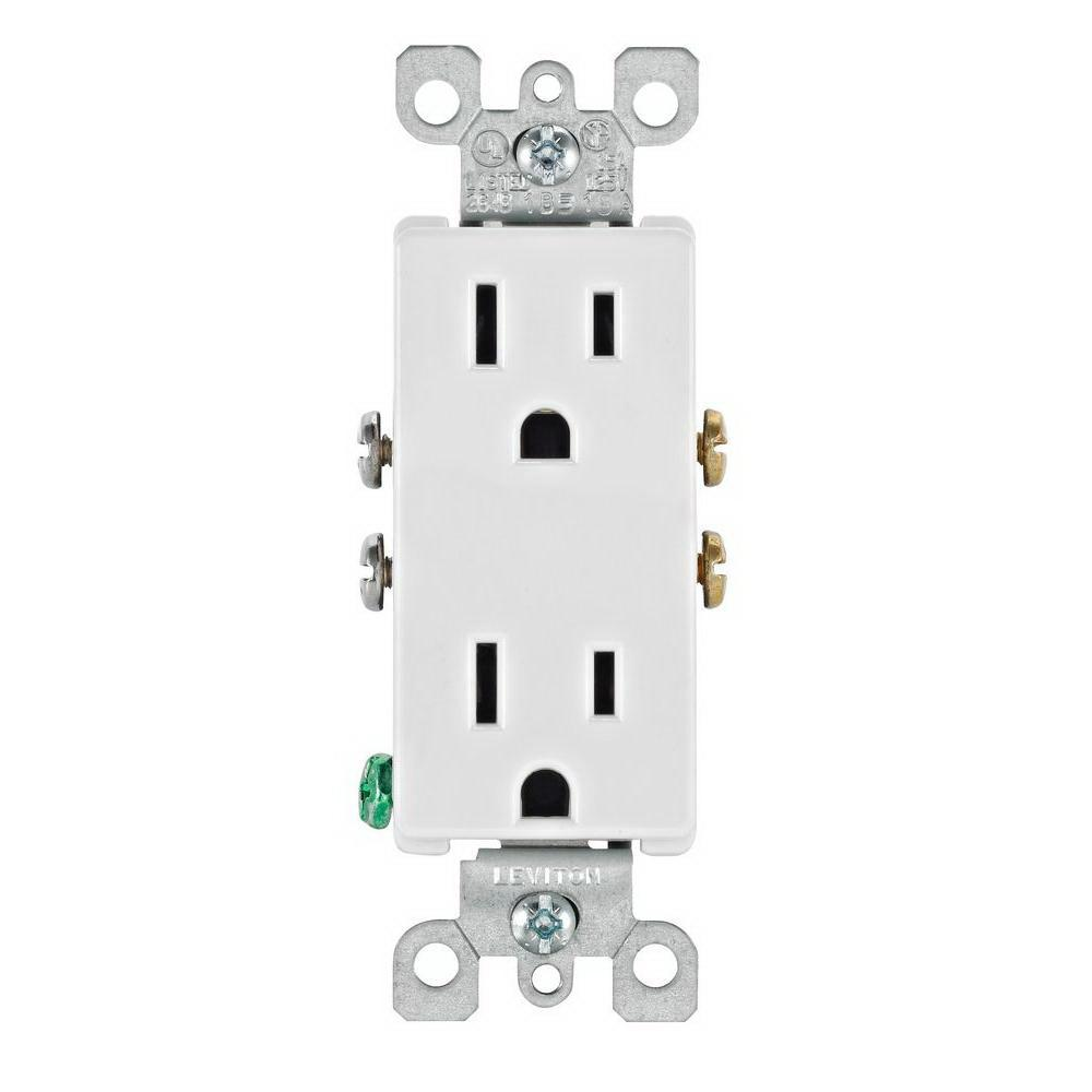 RECEPTACLE DEC 15A 10PK WHT