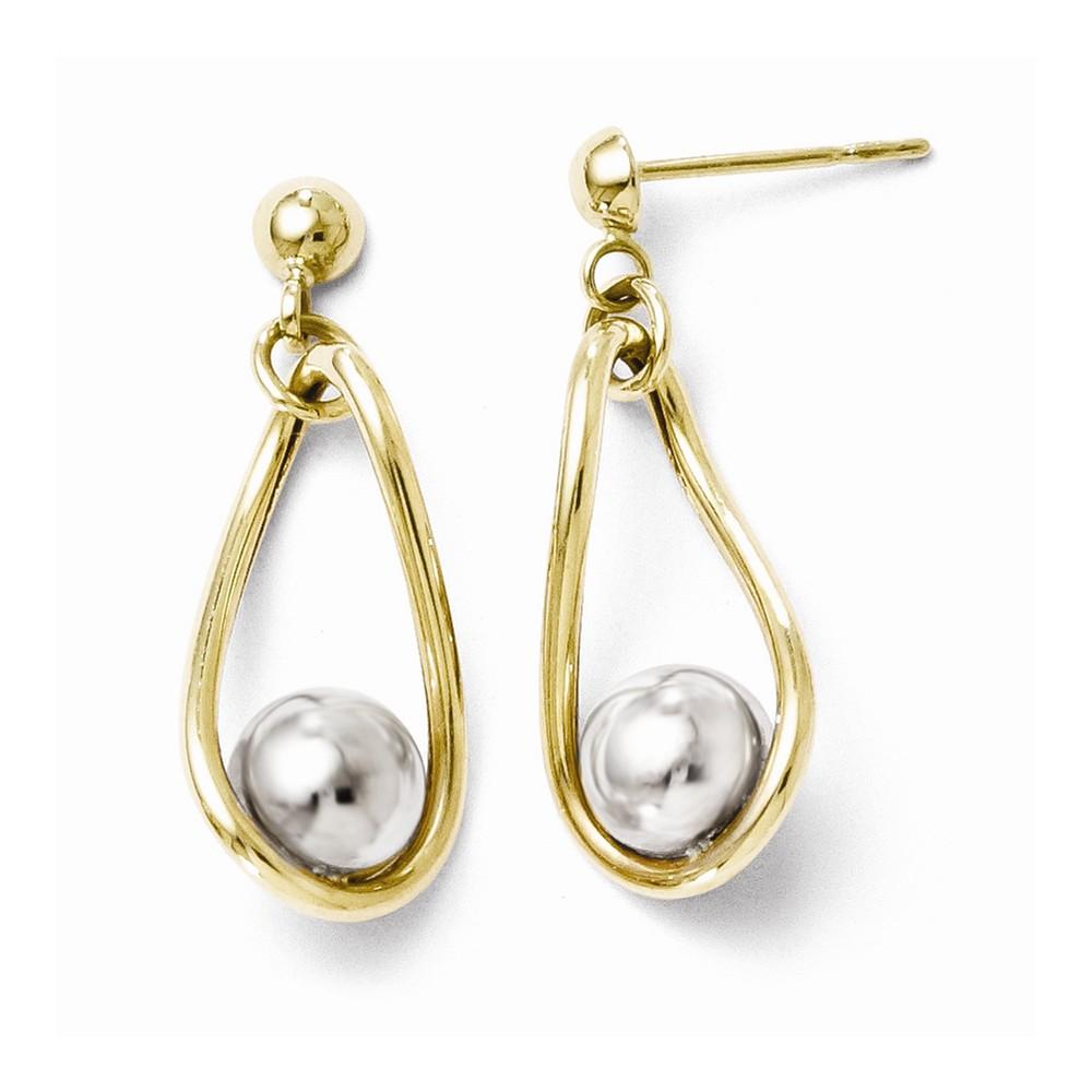 10k Two-Tone Gold Polished Post Dangle Earrings (1IN x 0.3IN )