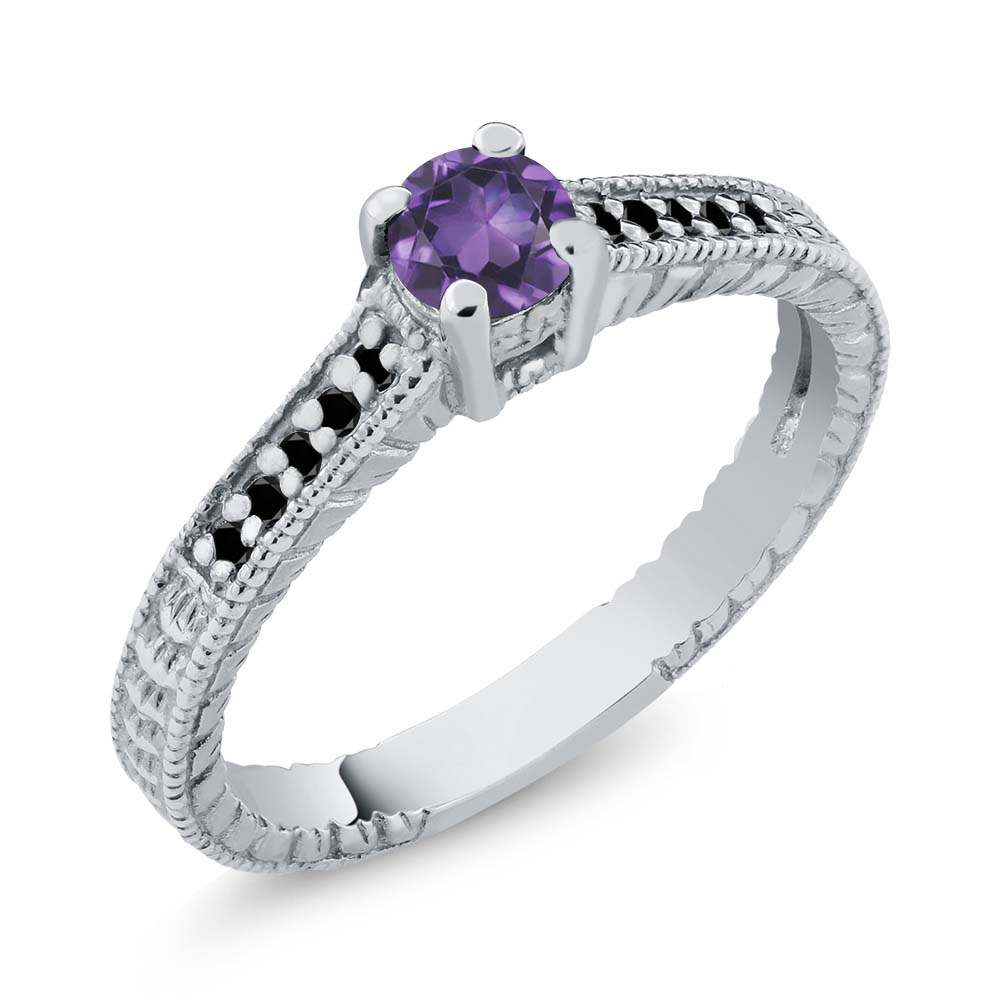 0.32 Ct Round Purple Amethyst Black Diamond 925 Sterling Silver Engagement Ring