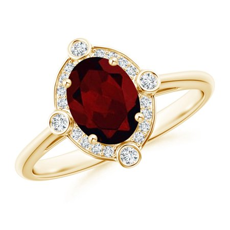 Valentine Jewelry Gift - Deco Inspired Oval Garnet and Diamond Halo Ring in 14K Yellow Gold (8x6mm Garnet) - SR1087GD-YG-A-8x6-11