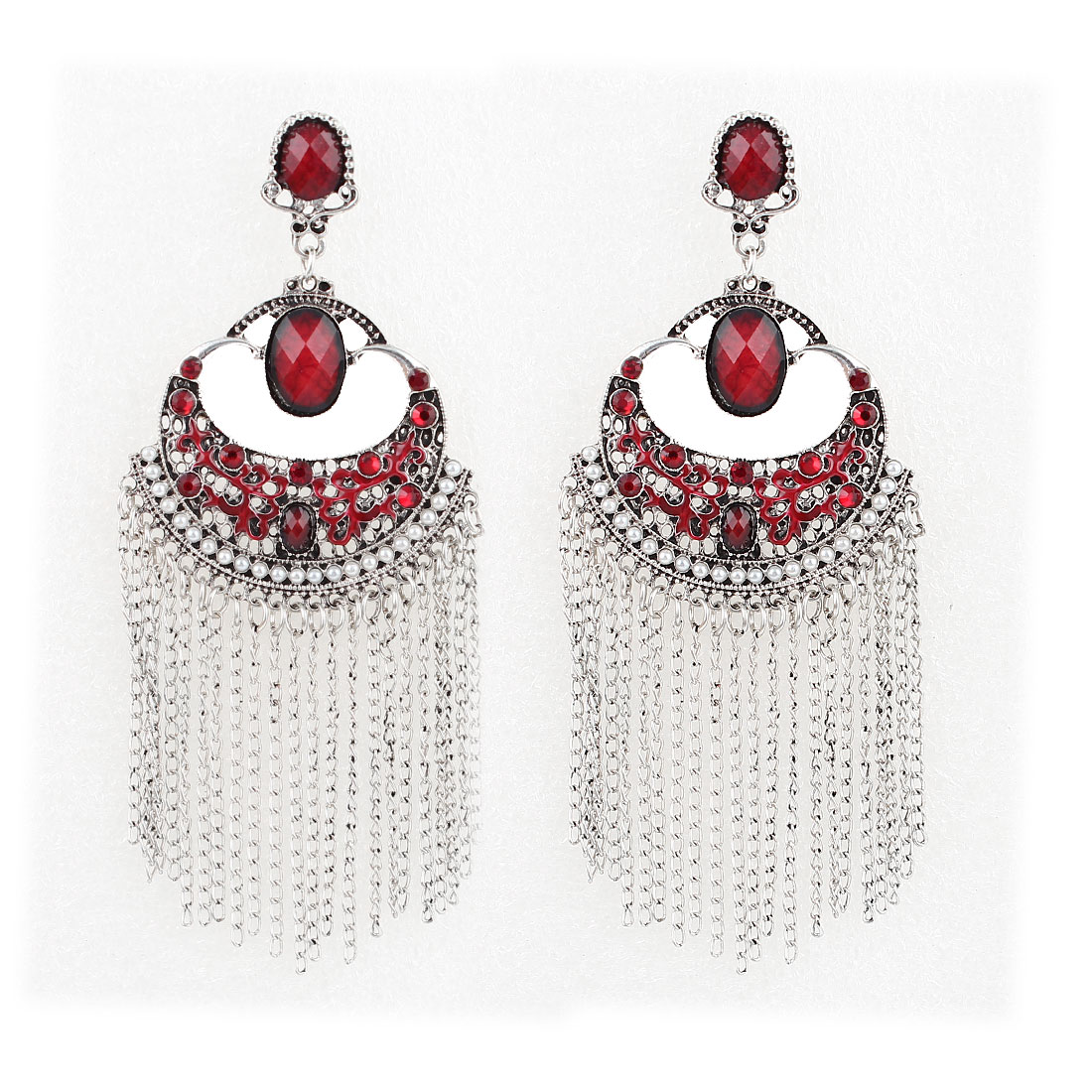Pair Red Faceted Rhinestone Metal Chain Tassel Dangling Pendant Earring for Lady