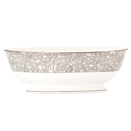 Lenox  Silver Bouquet Open Vegetable Bowl Lenox Covered Vegetable Bowl