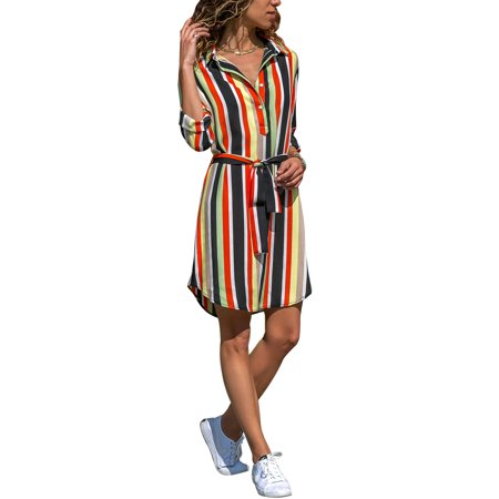 2d98a616 HIMONE - Women Striped V Neck Shirt Dress Summer Long Roll Up Sleeve Button  Down Tie Waist Casual Loose Midi Tunic Tops Dresses - Walmart.com