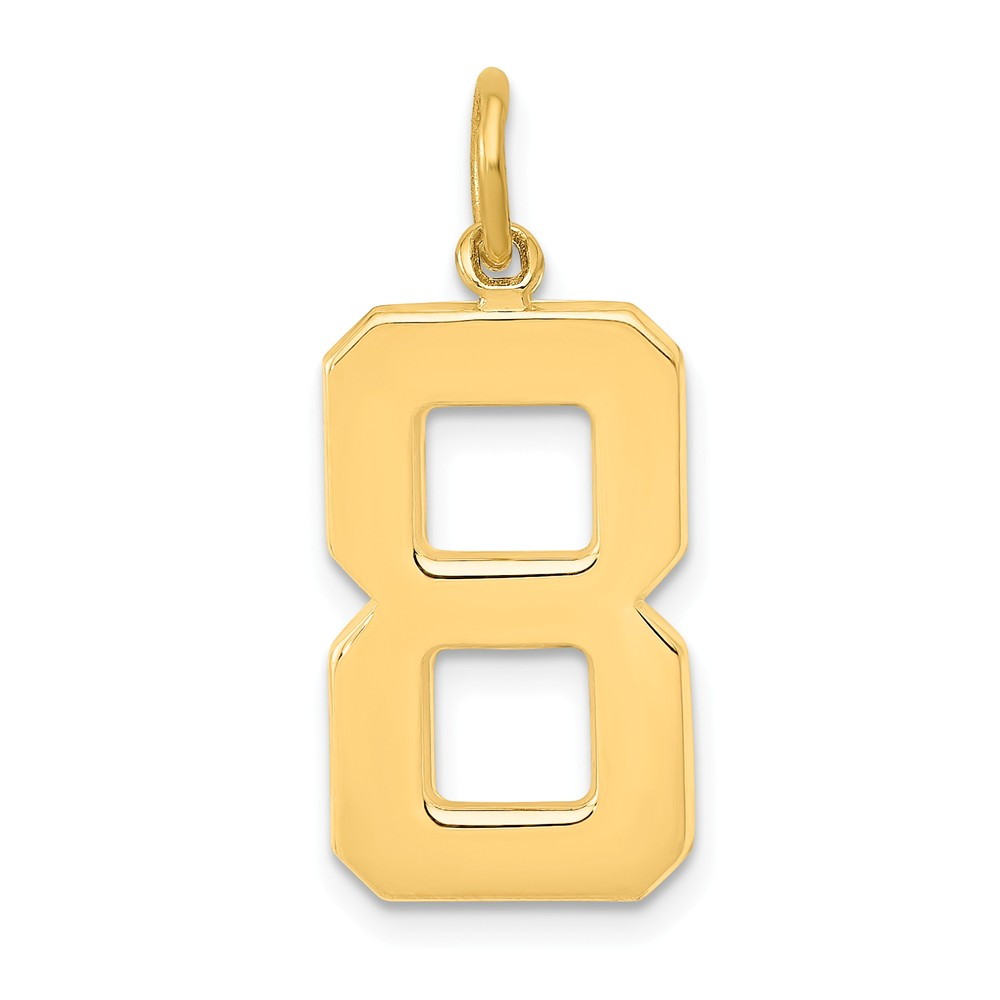 14k Yellow Gold Casted Large Polished Number 8 Charm Pendant