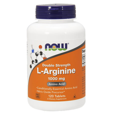 NOW Double Strength L-Arginine 1000 MG Tablets, 120 Ct
