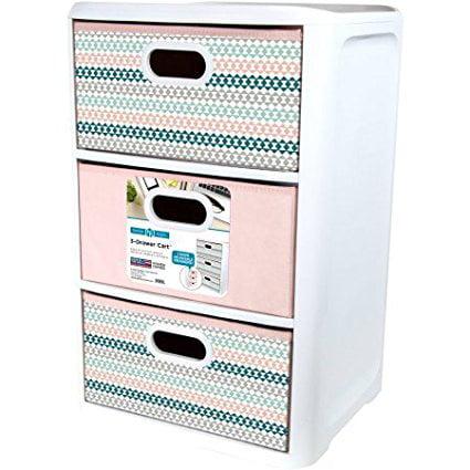 Home Logic, 3 Drawer Cart, Equal Size Fabric Drawers, Blu...