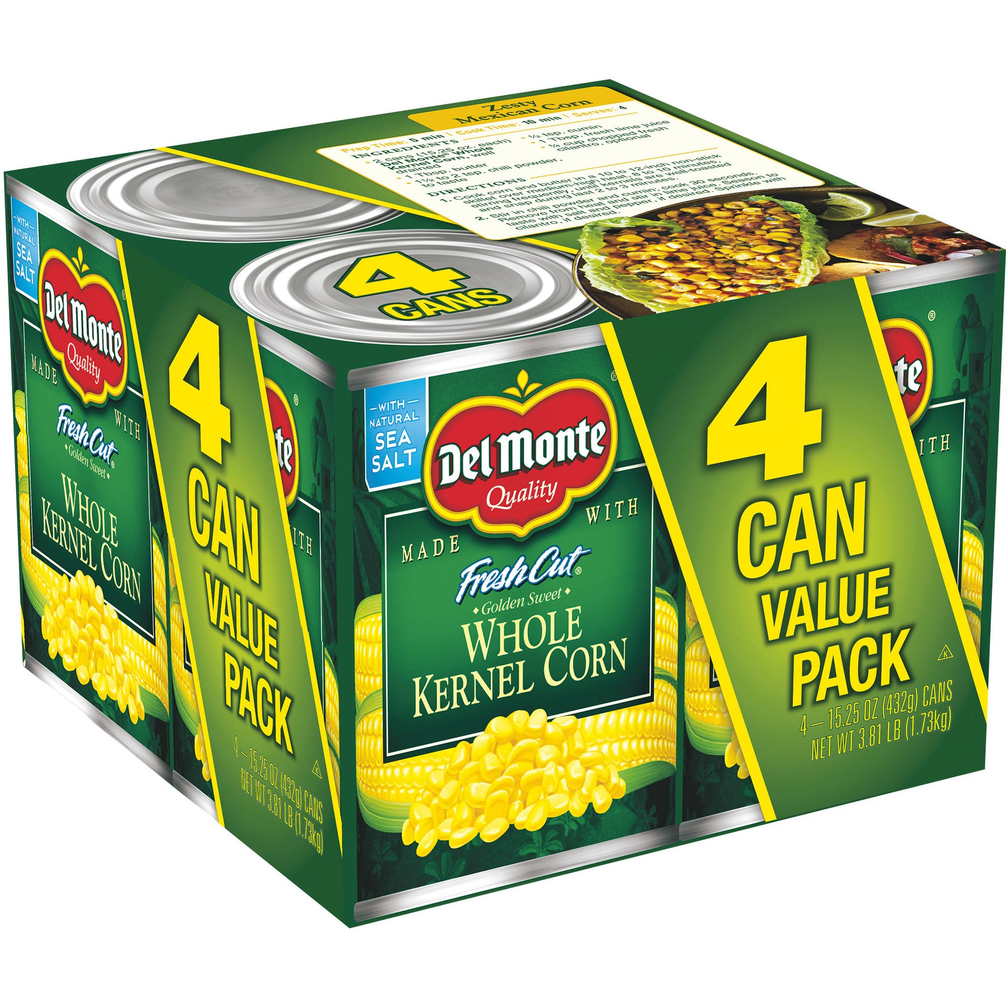 Del Monte Fresh Cut Golden Sweet Whole Kernel Corn, 15.25 oz, 4 Count Box