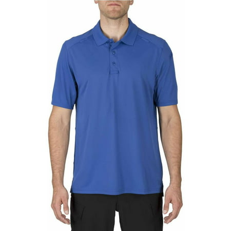 5 11 Tactical Mens Short Sleeve Helios Polo Shirt  Academy Blue
