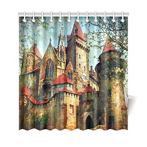 GCKG Medieval Castle Shower Curtain Vintage Style House City Buildings Polyester Fabric Bathroom Sets 66x72 Inches