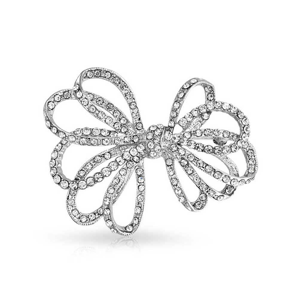 Bling Jewelry Ribbon Bow Bridal Jewelry Brooch Pin Crystal Silver Plated by Bling Jewelry