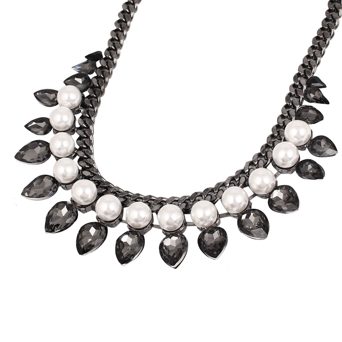 Lady Waterdrop Faux Crystal Pearl Adjustable Chunky Collar Bib Necklace Black