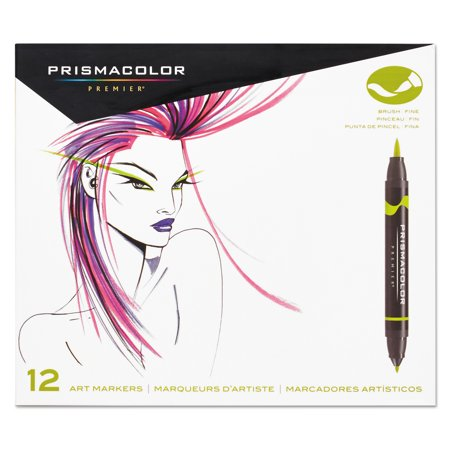 Prismacolor® Premier® Brush/Fine Art Marker Set, 12-Colors, Primary