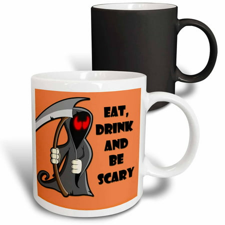 3dRose Eat, drink and be scary. Halloween funny quotes. Popular saying., Magic Transforming Mug, 11oz