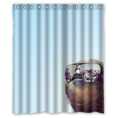 Mohome cute sloth wearing sunglasses shower curtain for Sloth kong shower curtain