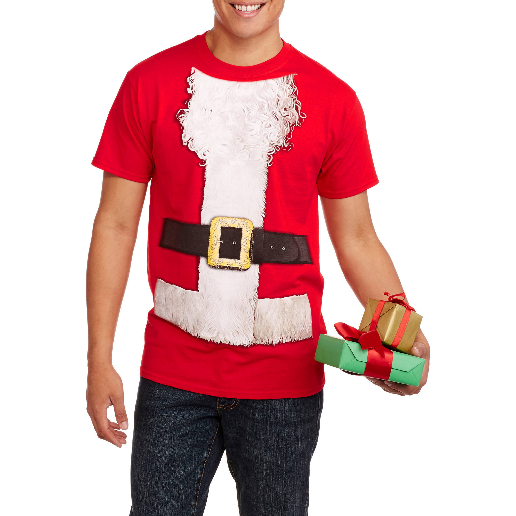Christmas Big Men's Bearded Red Santa Suit Graphic Tee