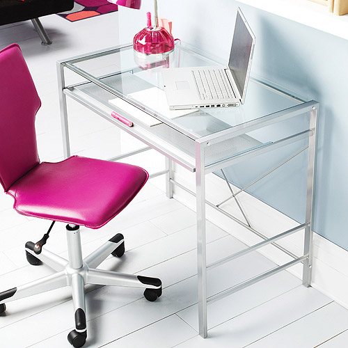 Mainstays Glass-Top Desk, Clear