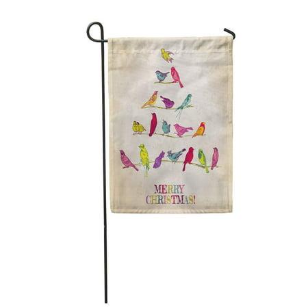 KDAGR Vintage Retro Birds on Christmas Tree Congratulation in Flower Garden Flag Decorative Flag House Banner 12x18