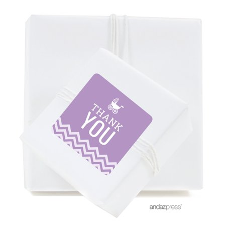 Lavender Chevron Baby Shower Square Label Stickers, Thank You, 40-Pack
