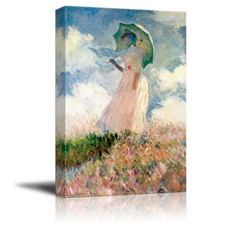 Parasol Oil Paintings (wall26 - Woman with a Parasol, Facing Left, 1886 by Claude Monet - Canvas Print Wall Art Famous Painting Reproduction - 24