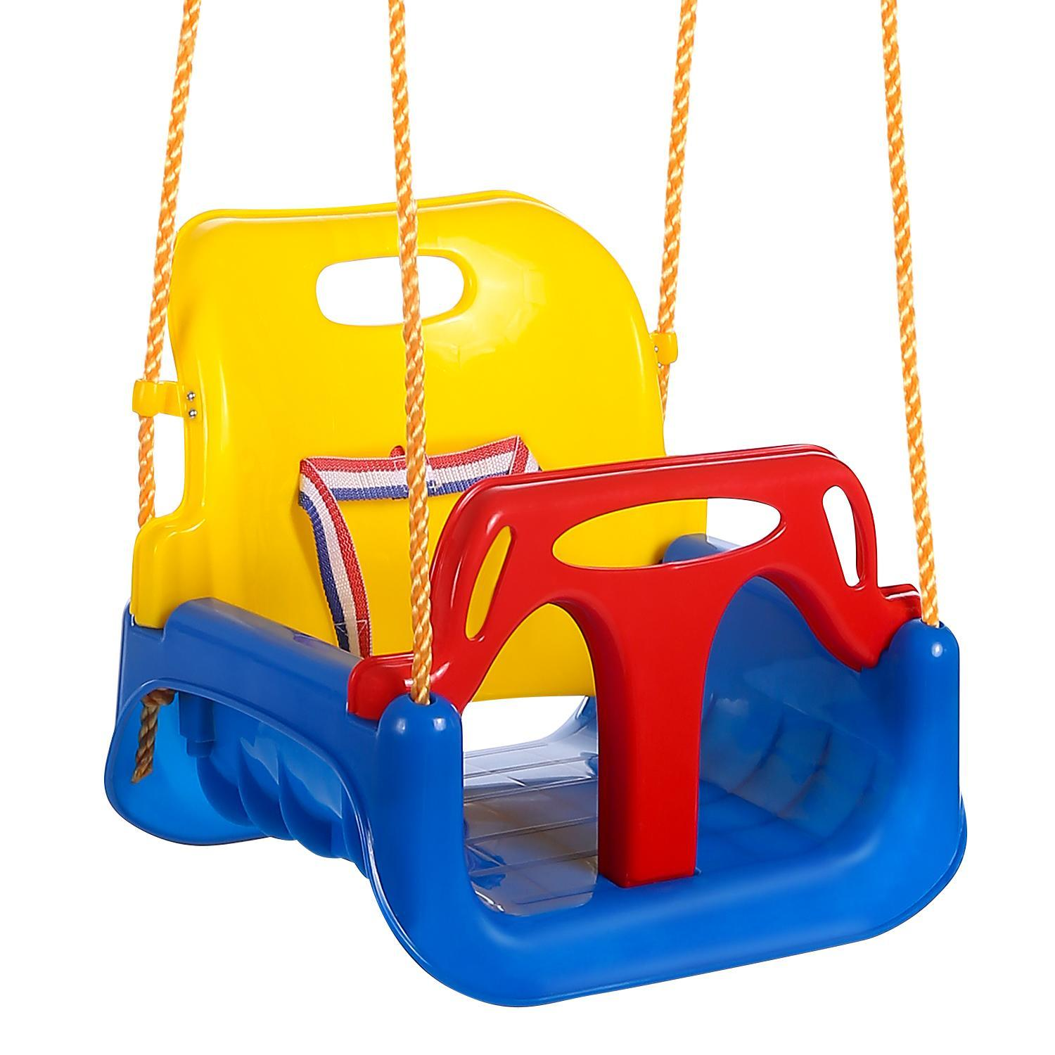3-in-1 Baby Swing Seat Outdoor Playground Backyard Swing Set For Infant,Baby,Children With Nylon Rope