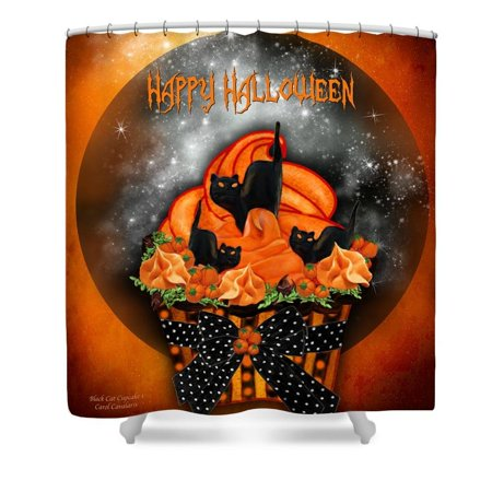 DEYOU Halloween Black Cat Cupcake Theme Shower Curtain Polyester Fabric Bathroom Shower Curtain Size 60x72 inch - Halloween Cat Fabric